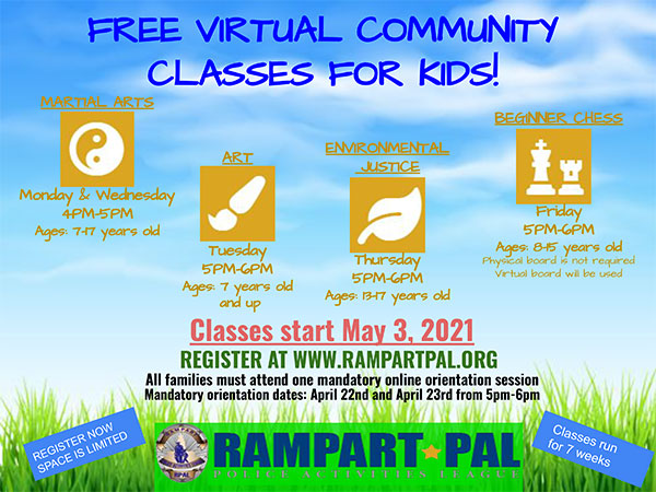 Free virtual Community Classes for Kids!